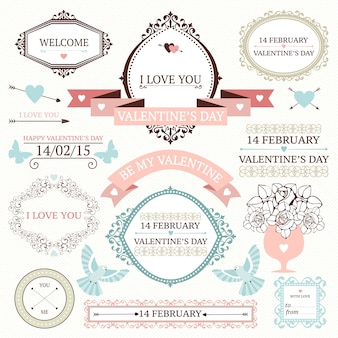 Valentine's day vintage frames, border, ribbons and other  elements collection.
