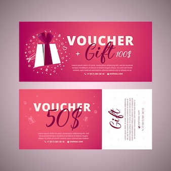 Valentine's day voucher. bright set of gift voucher