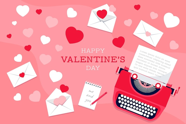 Valentine's day wallpaper in paper style