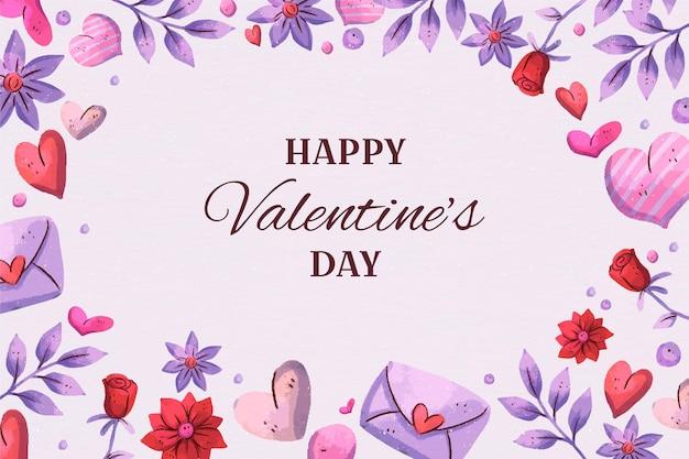 마음으로 발렌타인 수채화 배경