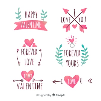 Valentine's day watercolor badges collection