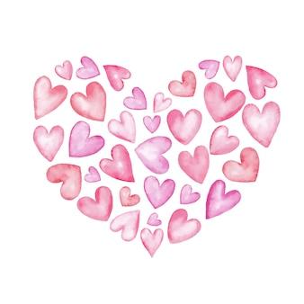 День святого валентина, акварель сердце маленьких сердечек