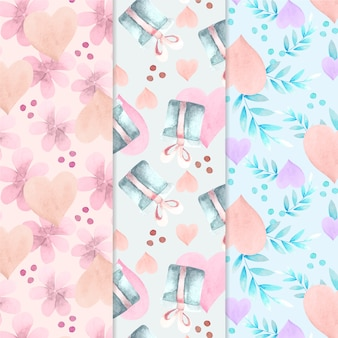 Valentine's day watercolor pattern collection