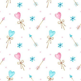 Valentine's day watercolor seamless pattern with blue and pink heart shaped lollipops, arrows, flowers and confetti