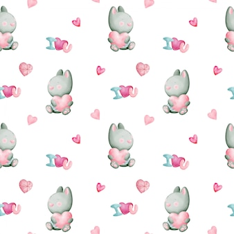 Valentine's day watercolor seamless pattern with rabbits and hearts