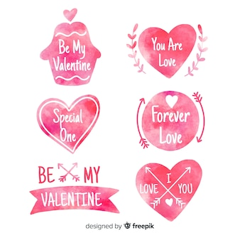 Valentine's day watercolor silhouette badges collection
