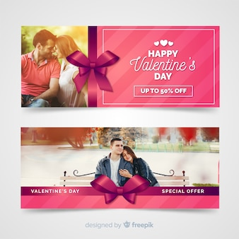 Valentine's day web banners with photo