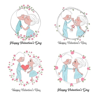 Valentine's day or wedding couple in hand draw roses wreath