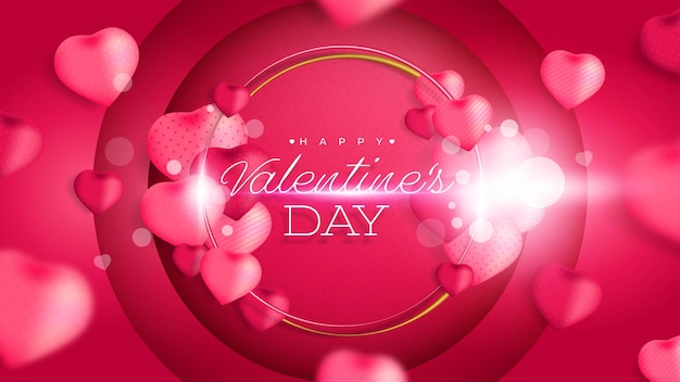 Valentine's day with 3d realistic hearth shape