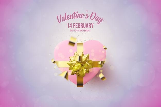 День святого валентина с иллюстрацией подарочной коробки любви 3d.