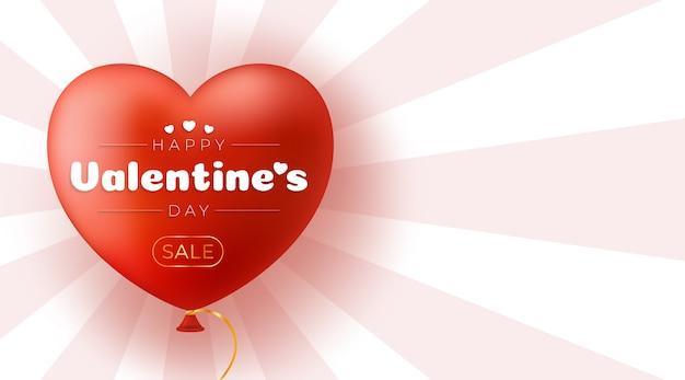 День святого валентина с баннером продажи воздушных шаров