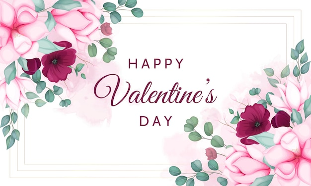 아름다운 꽃과 함께 발렌타인 데이