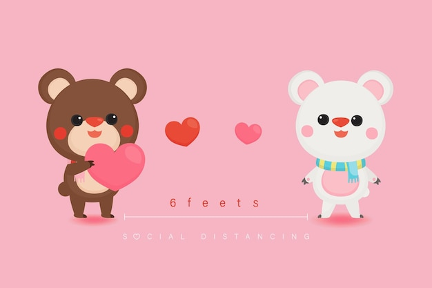 Valentine's day with cute bears and sweet background.