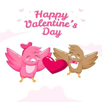 かわいいカップルの鳥とバレンタインデー
