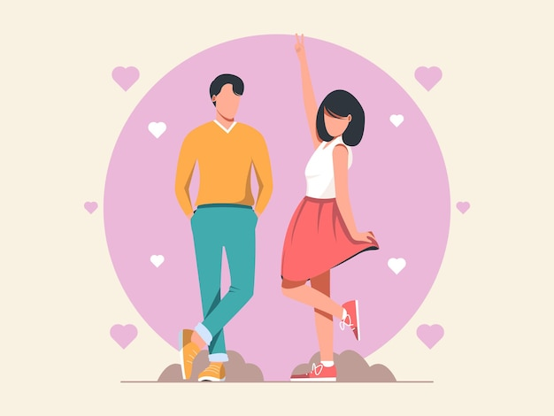 Valentine`s day with dating couple illustration character