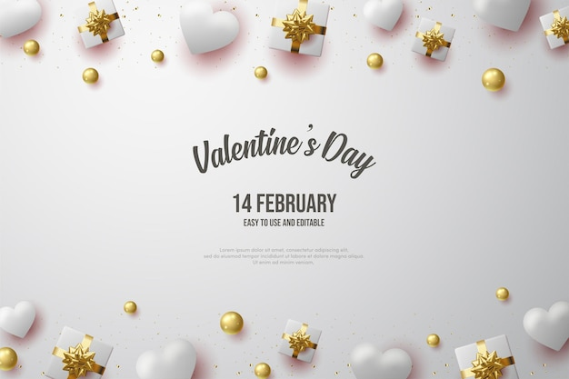 Valentine's day with a gift box illustration and soft  balloons.