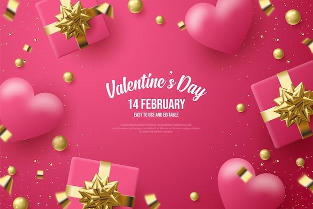 День святого валентина с подарочными коробками и воздушными шарами любви.