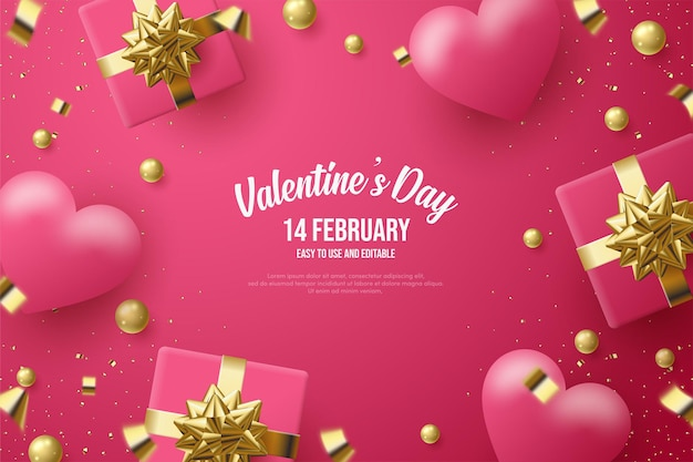 Valentine's day with  gift boxes and  love balloons.