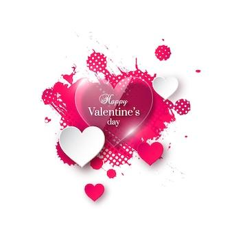 День святого валентина с глянцевыми бумажными сердечками и акварельными всплесками.