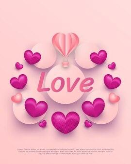 ピンクの背景に紙のカットスタイルの愛の言葉、気球、ハートのバレンタインデー