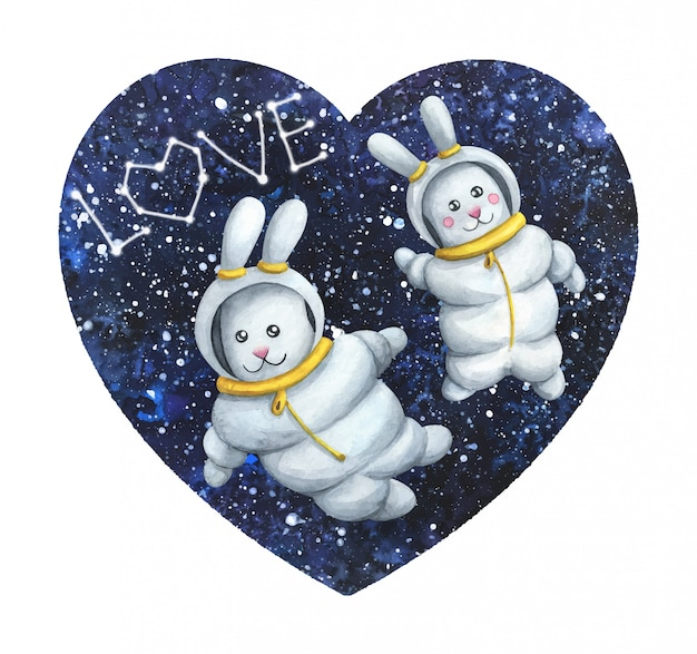 Valentine's day with lovebirds in spacesuits in outer space.