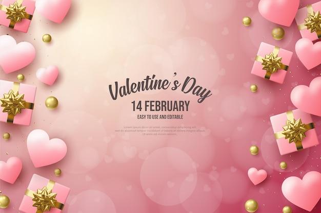 День святого валентина с розовыми воздушными шарами любви и подарочной коробкой.