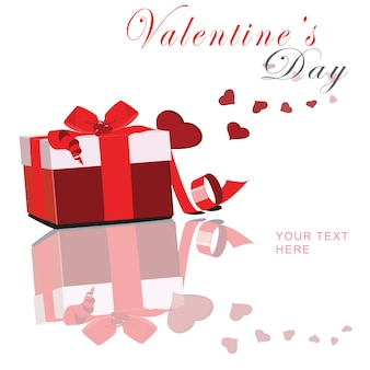 Valentine's day with red box and float heart vector