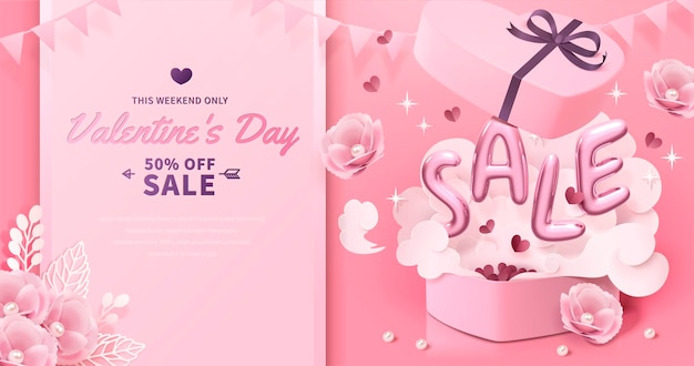Valentine's day with sale balloon words jumping out of gift box in 3d style, paper flower decorations