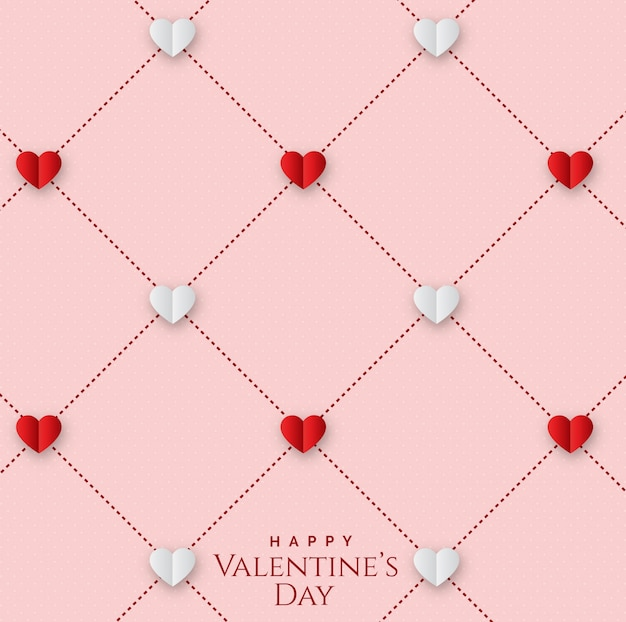 Valentine's day with seamless geometric pattern with hearts