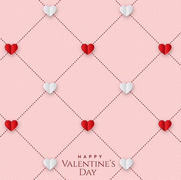 День святого валентина с бесшовным геометрическим рисунком с сердечками