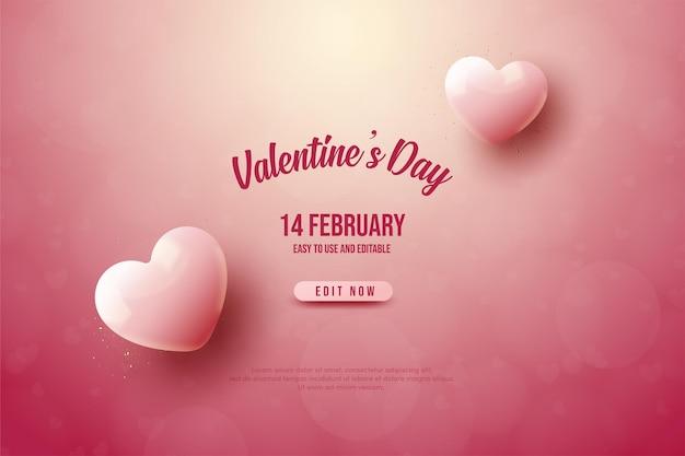 День святого валентина с двумя розовыми сердечками
