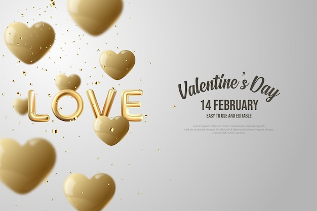 Valentine's day with the words love and gold balloons.