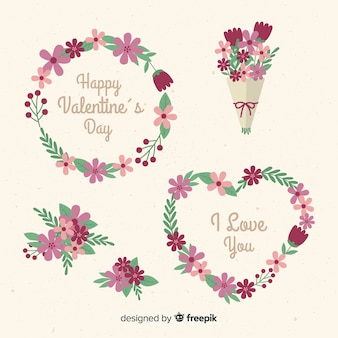 Valentine's day wreath and flower collection