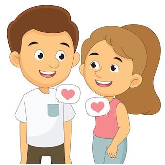 バレンタインデー、恋の若いカップル、bubleの心の愛