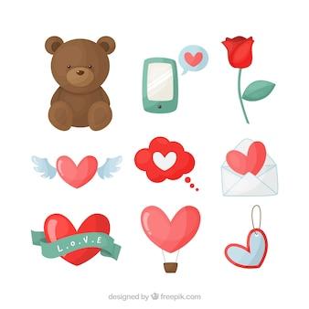 Набор элементов дневного элемента valentine's day
