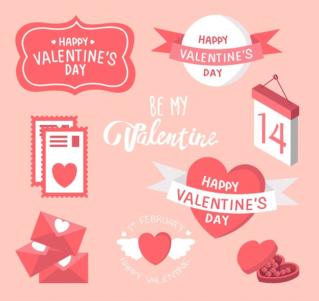 バレンタインのいたずら書き-かわいいデザイン要素がたくさん-ハート、ラブレター、ハート、ギフト。