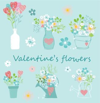 발렌타인 꽃 손으로 그린 세트. 발렌타인 데이, 스티커, 생일에 적합하고 날짜 초대장을 저장하십시오.