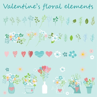 Valentine's floral hand drawn set.  perfect for valentines day, stickers, birthday, save the date invitation.
