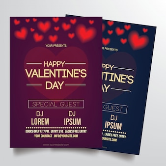Valentine's flyer template vector