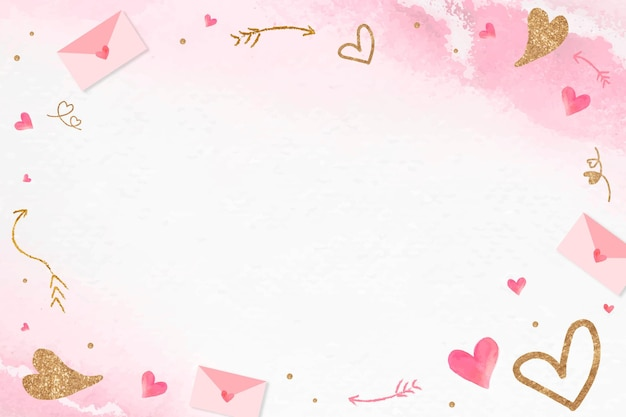 Valentine's glittery heart frame pink background