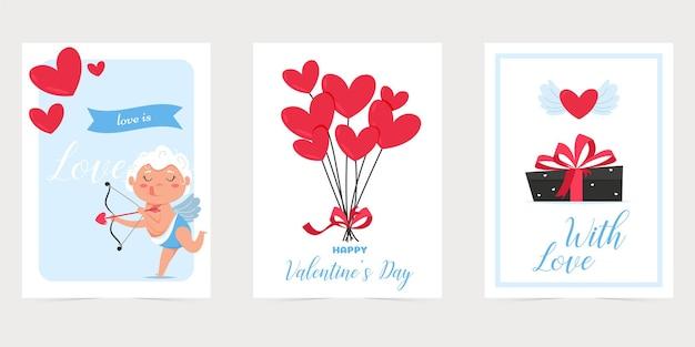 Набор открыток валентинки