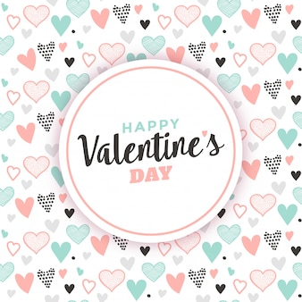 Valentine's greeting with heart pattern background