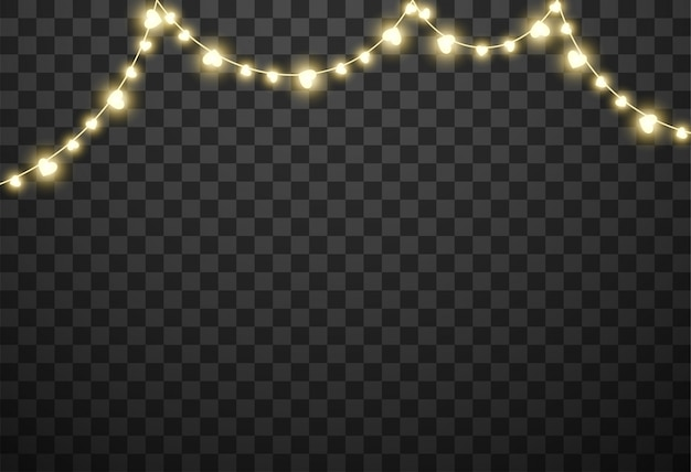 Valentine's lights isolated on transparent background