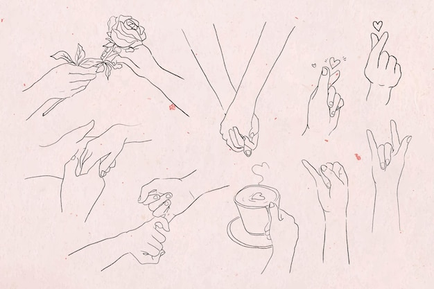 Valentine's and love hand gestures  grayscale sketch set