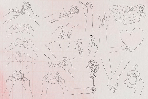 Valentine's and love hand gestures psd black and white illustration set