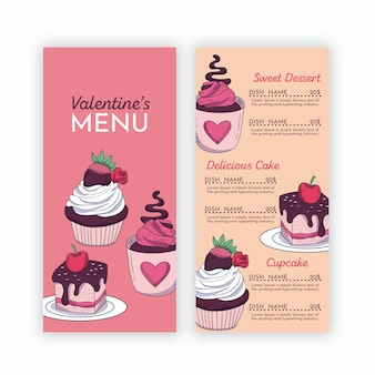 Valentine's menu template with cupcakes