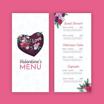 Valentine's menu template with flowers
