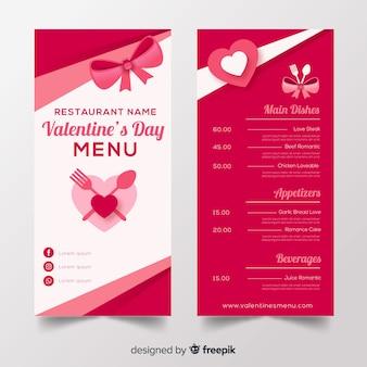 Valentine's menu template