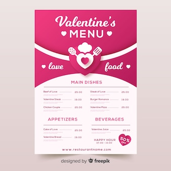 Valentine's menu template