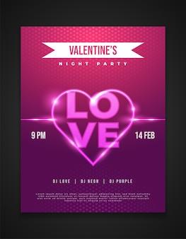 네온 하트와 빛나는 사랑 단어로 발렌타인 밤 파티 초대 카드 또는 포스터 디자인